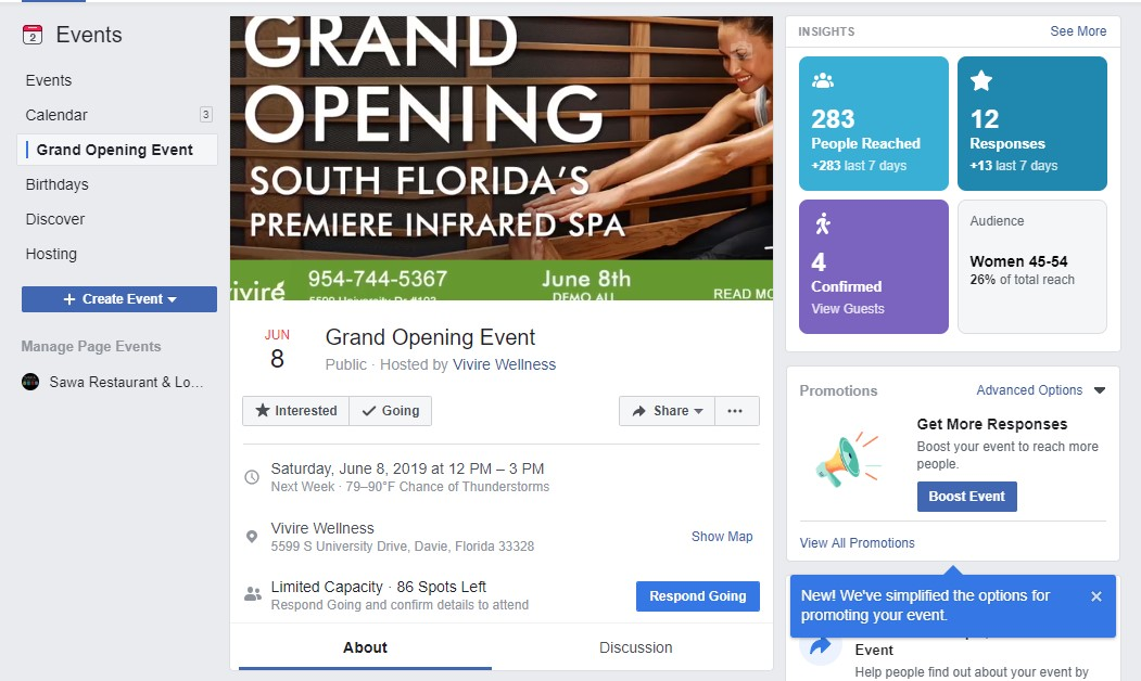 vivire wellness grand opening event on facebook